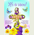 easter cross with flowers and ribbon card design vector image
