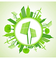 Eco cityscape with solar panel vector image vector image