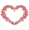 Embroidery inspired heart shape in red with floral vector image vector image