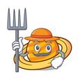 farmer planet saturnus character cartoon vector image vector image