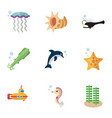flat icon nature set of sea star fish playful vector image vector image