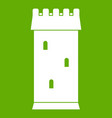 fortress tower icon green vector image vector image