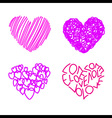 four hand drawing hearts vector image vector image