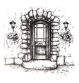 Freehand drawing of old front door vector image vector image