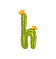h letter in the form of cactus with blooming vector image