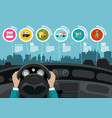 hands on car steering wheel - city map with vector image vector image