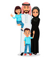 happy arab family father mother son daughter vector image