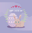 happy easter day card with cute rabbit and egg vector image vector image