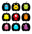 happy halloween cute monster pumpkin shape icon vector image vector image