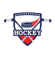 hockey emblem with puck and sticks equipment vector image