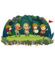 kid travelers with backpack hiking in forest vector image vector image