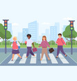 kids crossing road group student on street vector image vector image