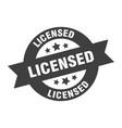licensed sign black round ribbon sticker vector image vector image