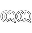 logo sign qc and cq icon sign two interlaced vector image vector image