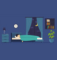 man sleeps at night in bed room with a window vector image