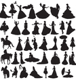 Many silhouettes of brides in different situations vector | Price: 1 Credit (USD $1)