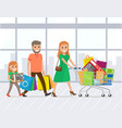 mother father and daughter shopping together vector image vector image