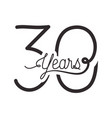 number 30 for anniversary celebration card icon vector image vector image