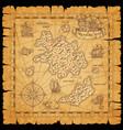 pirate treasure map sea island ship sketches vector image