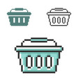 pixel icon shopping basket in three variants vector image