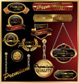 premium quality golden framed labels vector image
