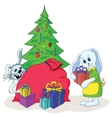 rabbits and christmas tree vector image vector image