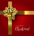 red christmas gift greeting card with gold ribbon vector image
