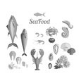 Seafood Set Design Flat Fish and Crab vector image vector image