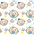 seamless background with baby faces and stars vector image vector image