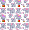 Seamless background with gray elephants vector image vector image