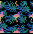 seamless flamingos and palm leaf pattern vector image