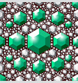seamless green crystals pattern vector image