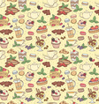 seamless pattern fresh desserts with coffee tea vector image vector image