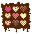 set heart on chocolate background vector image vector image