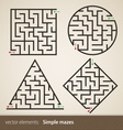 Set of four perfect maze vector image vector image