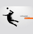 silhouette of volleyball player vector image vector image