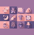 sleep time set objects for sleep good night vector image