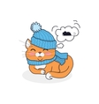 Sleeping Cat in Hat and Scarf Design vector image