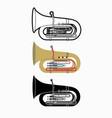 tuba instrument cartoon music graphic vector image