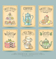 vintage card collection sketch cakes and tea vector image vector image