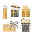 vintage collection five gift boxes on white vector image vector image