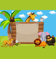 wild animals and wooden sign vector image vector image