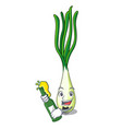 with beer fresh scallion isolated on the mascot vector image