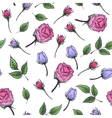 Seamless floral pattern with rose and leaf vector image