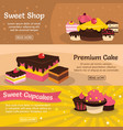 set of three horizontal sweet cake banners with vector image