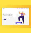 aerobic fitness character design for landing page vector image vector image