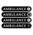 ambulance label sticker emergency banner vector image vector image