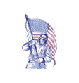 American soldier carrying flag vector image vector image