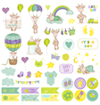 Baby Boy Giraffe Scrapbook Set vector image vector image