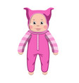 baby plastic doll toy in rose jumpsuit